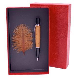 Kugelschreiber mit echtem Straußenleder belegt - Farbe hellbraun