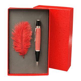 Kugelschreiber mit echtem Straußenleder belegt - Farbe rubinrot