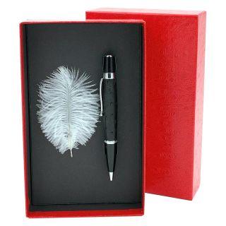Kugelschreiber mit echtem Straußenleder belegt - Farbe schwarz