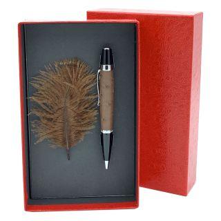 Kugelschreiber mit echtem Straußenleder belegt - Farbe dunkelbraun